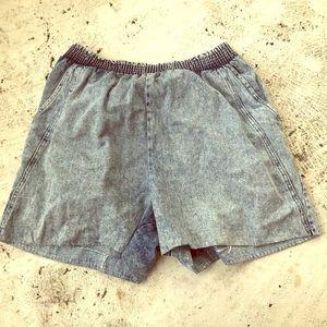 West Paris Elastic Stonewash Denim Shorts
